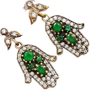 Hamsa Hand Natural Emerald & White Topaz 925 Sterling Silver Earrings