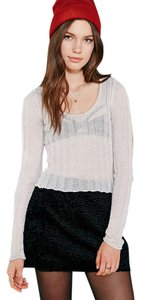 Urban Outfitters #uo #urbanoutfitters #lurex #shimmer #ribbed #cropped #rufflehem #silence+noise Sweater