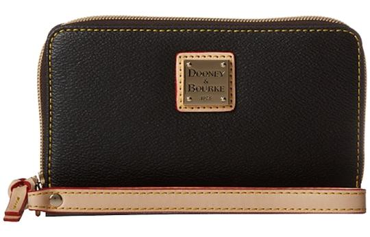 Dooney & Bourke Wristlet in Black with Natural Trim