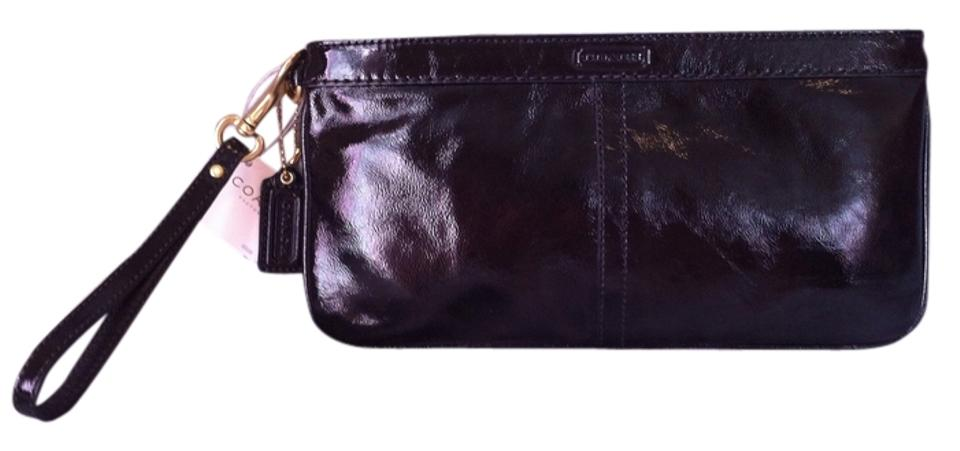 Coach Leather Wedding Evening Style F13269 Black Patent Clutch
