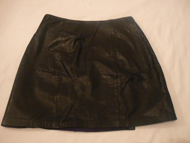 Boutique Europa Leather Wrap Double Buckles Fully Lined Vintage Mini Mini Skirt Black