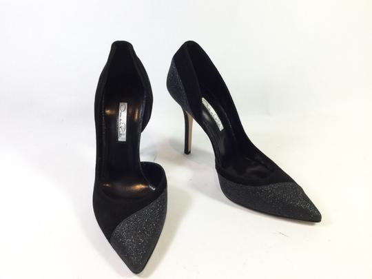 Oscar de la Renta Classic Stiletto Suede Black/Glitter Formal