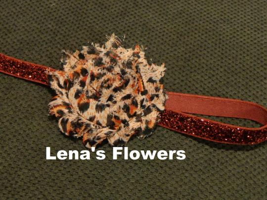 Other Handmade Summer Flower on elastic, hair accessories. Maroon and Beige (animal print) color.
