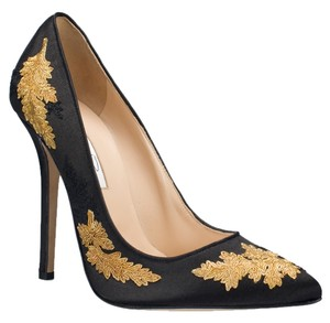 Oscar de la Renta Grace Gold Shoe Heel Black Pumps
