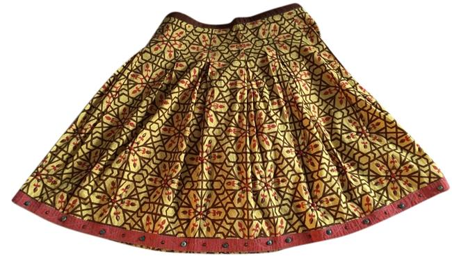 Yoana Baraschi Fall A-line Beaded Printed Skirt Image 0