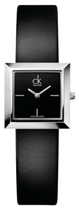 Calvin Klein Calvin Klein Women's Mini Black Leather Silver Steel Watch K3R231C1