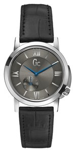 Guess Guess Slim Class Black Leather Silver Tone Steel Watch X59010L5S