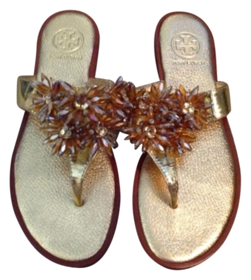 Tory Burch Burch Tory Pale Gold Beaded Sandals 59e866