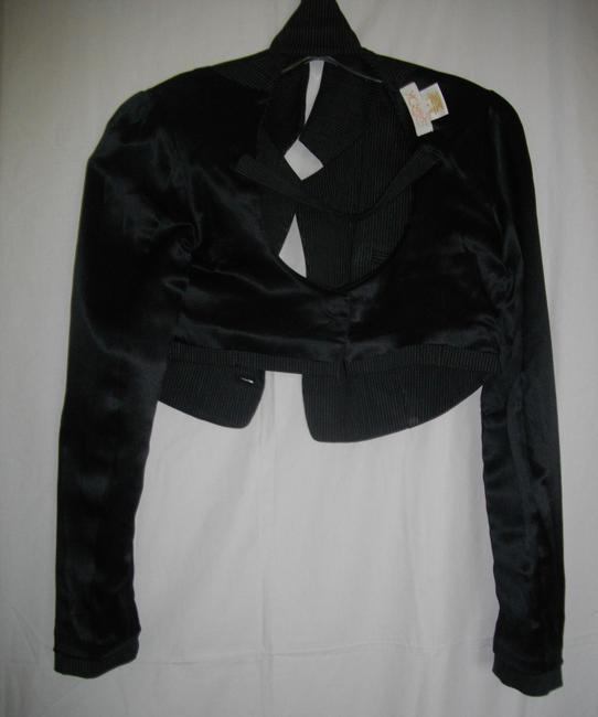 LaROK Midriff Pin Stripes Open Rear Band Black Jacket