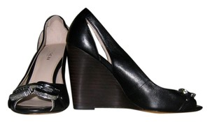 Coach Heel Wedge Dress Up Black and Silver Wedges