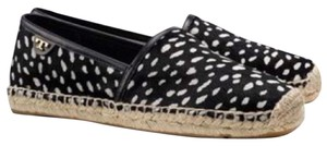 Tory Burch Espadrille Leather Calf Hair Polka Dot Black Casual Chic Cute Shift Black, white Flats