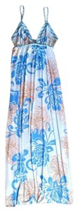 white, blue, orange Maxi Dress by Pink Polkadot