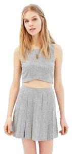 Urban Outfitters Pleated Mini Mini Skirt Gray and white