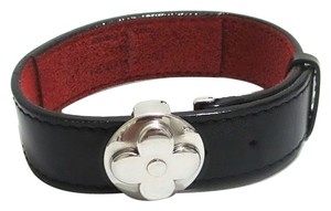 Louis Vuitton Authentic Louis Vuitton Monogram Black Leather Good Luck Bracelet