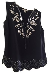 Nine West Embroidered Top Black with White details