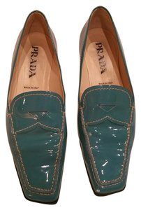 Prada Loafers Patent Turquoise Flats