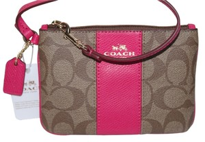 Coach Pvc With Leather Trim Wristlet in Pink Ruby Khaki