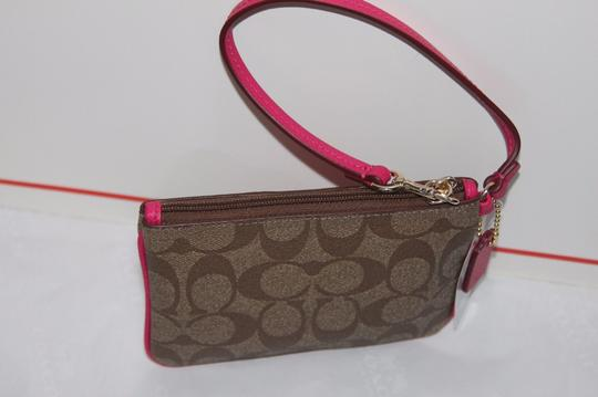 Coach With Leather Trim Wristlet in Pink Ruby Khaki