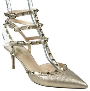 Valentino Rockstud 39/8.5 Sasso Leather Ankle Strap Pointed Toe Pump Wedding Shoes