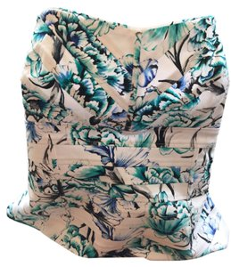 White House | Black Market Top White w/ lt blue & sea-green/black flowers