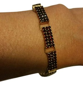 Antique Silver Gold Plated Handcraft Bracelet with Rose Cut Red Garnets,7in