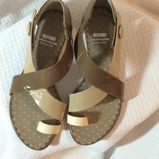 Moschino Neutral Color Flat Heel Two toned; Ivory with Taupe Sandals