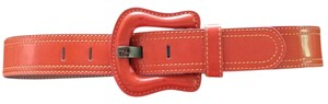 Fendi Orange Patent Leather Buckle Belt