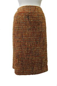 Chanel Tweed Skirt Red & Orange