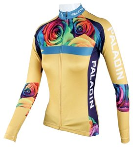 Paladin Cycle Bicycle Sport Shirt Gym Excercise Bike Race Work Out Zip Front Back Pockets Form Fit Stylish Top Yellow with floral print