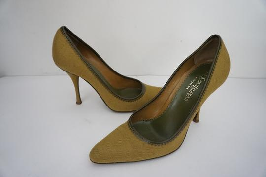 Saint Laurent Ysl Classic Business Yves Fabric Mustard Yellow Pumps