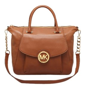 MICHAEL Michael Kors Leather Gold Hardware Chain Satchel in Tan, Luggage
