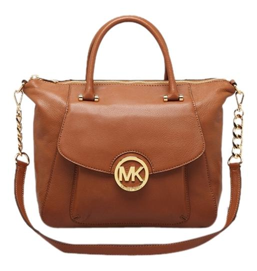 MICHAEL Michael Kors Leather Gold Hardware Satchel in Tan, Luggage