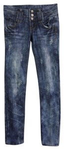 Almost Famous Clothing Rocker Punk British Punk Skinny Jeans-Dark Rinse