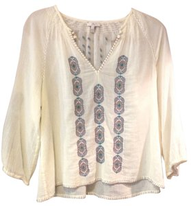 Joie Embroidered V-neck Sheer Top Cream