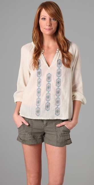 Joie Embroidered V-neck Sheer Cotton Top Cream
