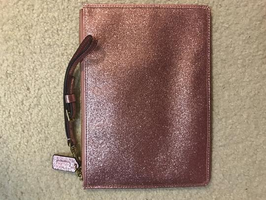 Coach Gold Hardware Wristlet in pink glitter