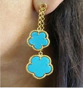 Beautiful Turquoise Sterling Silver 14k Gold Plated Earrings