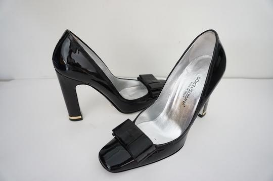 Dolce&Gabbana Vernice Anguilla Chunky Heel Classic Business Ready To Wear Black Pumps