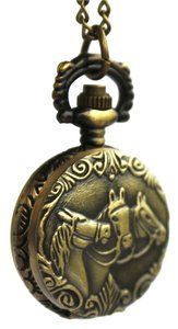 Other Bronze Clamshell Horse Quartz Pocket Watch Necklace Free Shipping