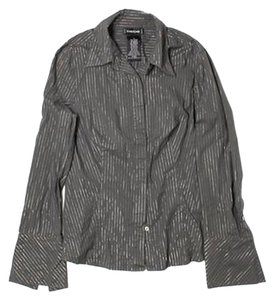 bebe Button Down Shirt Silver