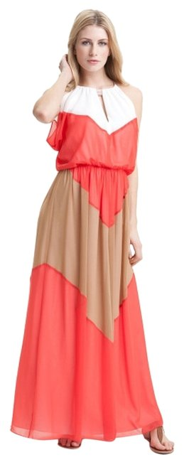Item - White Tan Peach Pink Colorblock Chevron Halter Long Casual Maxi Dress Size 2 (XS)