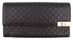 Gucci Gucci Micro Guccissima Black Leather Snap Wallet (53807)