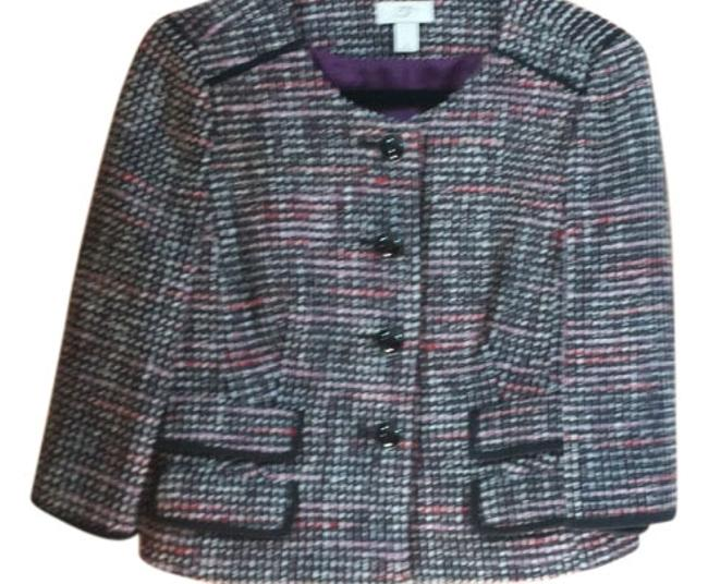 Item - Black Purple and Red Tweed Blazer Size 8 (M)