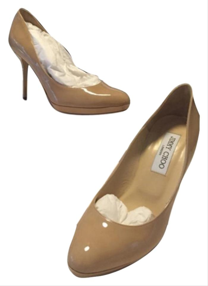05e2af46f40e Jimmy Choo Nude Aimee Patent Leather Pumps Size US 7.5 Regular (M