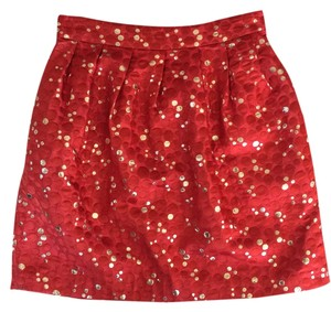 Anthropologie Mini Skirt Rouge/Gold Metallic