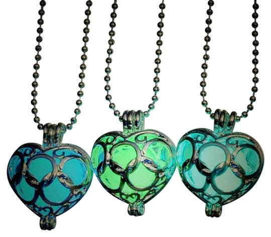 Other BOGO Glow in the Dark Green Heart Puffed Silver Necklace Free Shipping
