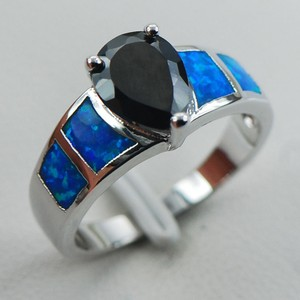 Blue Fire Opal & Black Onyx Fashion Ring Free Shipping