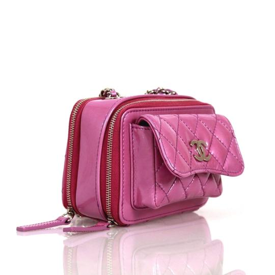 Chanel Quilted Leather Patent Leather Cross Body Bag