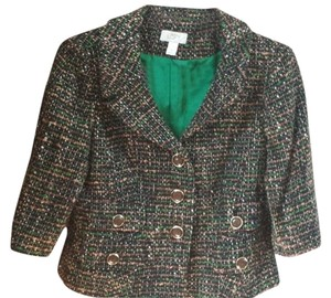 Ann Taylor LOFT Tweed Black, Green and BrownTweed Blazer
