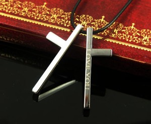 Split Stainless Steel Cross Necklace Free Shipping